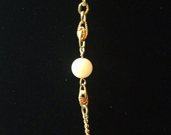 Vintage Gold Knot Two Pearl Necklace