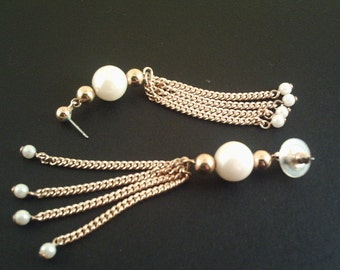 Vintage Chain Pearl Earrings