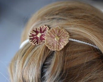 Gold flowers hair headband floral white head piece bridesmade by RedBracelet on etsy