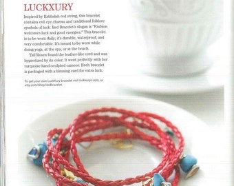 Jewelry affaire magazine featured Red Bracelet LuckXury october edition