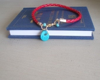 Turquoise lucky hamsa Red Bracelet kabbalah evil eye beads cameo by RedBracelet on ETSY