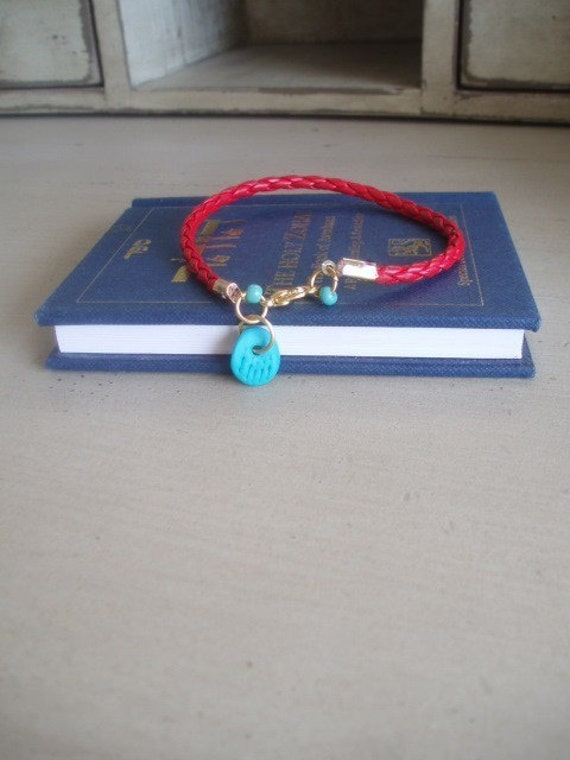 Turquoise lucky hamsa Red Bracelet kabbalah evil eye beads cameo by RedBracelet on ETSY