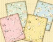 Delicate Florals / Vintage Pastel Fabric - ATC, ACEO, Jewelry Tags, Download and Print Digital Sheet