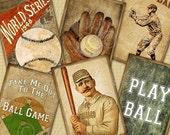 Take Me Out To The Ball Game / Baseball - ATC, ACEO, Hang Tags, Download and Print Digital Sheet