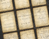 """Old Paper / Antiqued Tags Faded French - Printable 2""""x3"""" Designs/Gift Tags/Hang Tags Instant Download and Print Digital Sheet"""