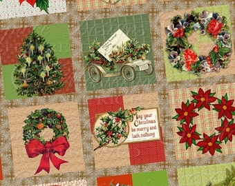 Old Fashioned Christmas / Antique Die Cuts - Printable 1x1 Inch Square Tiles Instant Download Digital JPG Collage Sheet