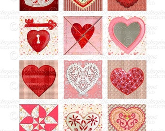 It's A Heart Thing / Valentine's Day / Valentine / Hearts - Printable INSTANT DOWNLOAD - 2x2 Inch Square Tiles Digital JPG Collage Sheet
