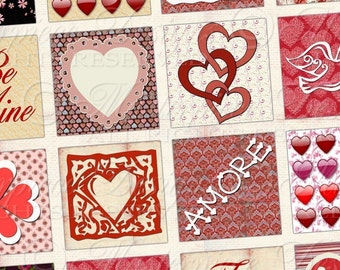 Be Mine / Valentine / Love - Printable INSTANT DOWNLOAD 1x1 Inch Square Tiles Digital JPG Collage Sheet