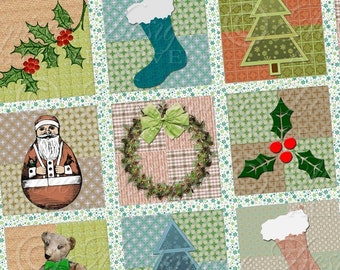Country Christmas / Primitive Style - Printable 1x1 Inch Square Tiles Instant Download Digital JPG Collage Sheet