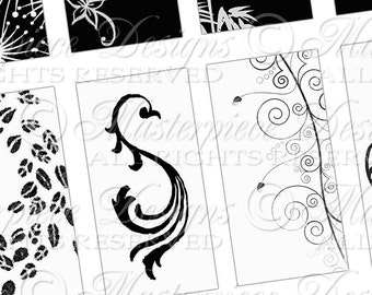 Lovely Black & White Printables / Flowers / Vines / Ornamental - INSTANT DOWNLOAD 1x2 Inch Domino Tile Rectangle Digital JPG Collage Sheet