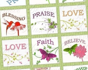 Garden Of Faith Printable Squares / Christian / Religious Phrases Love Praise Believe Worship Pray - 1 Inch Squares JPG Collage Sheet