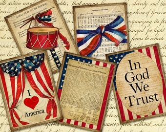 I Love America / American / USA / Patriotic Flag July 4th - Printable ATC, ACEO, Hang Tags, Instant Download and Print Digital Sheet