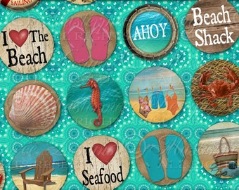 Retro Beach / Ocean Vacation Shore Sea Summer - Printable INSTANT DOWNLOAD One Inch Round Designs / Bottlecap / Digital JPG Collage Sheet