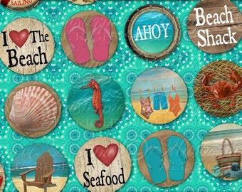 Retro Beach / Ocean / Vacation / Seashore / Summer - Printable DOWNLOAD One Inch Round Designs / Bottlecap / Digital JPG Collage Sheet