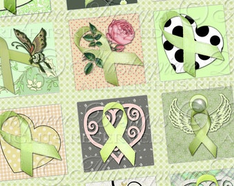 Lyme Disease Awareness Ribbons / Lime Green Ribbons - Printable INSTANT DOWNLOAD 1x1 Inch Square Tiles Digital JPG Collage Sheet