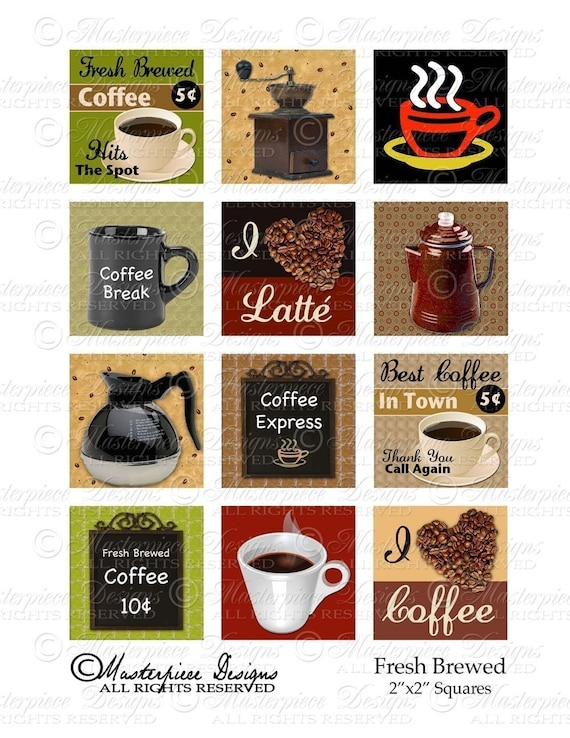 FRESH BREWED- 2x2 Inch Square Tiles Digital JPG Collage Sheet