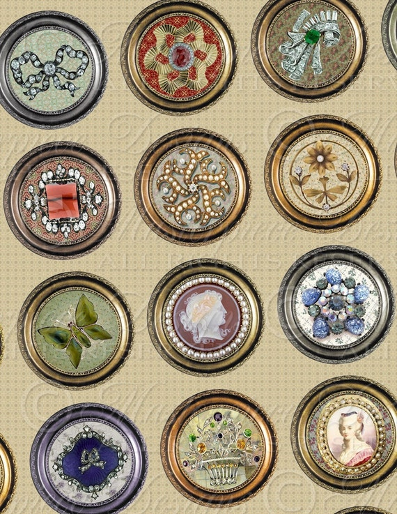 Antique Brooches / Framed Jewels- One Inch Round Designs Digital JPG Collage Sheet