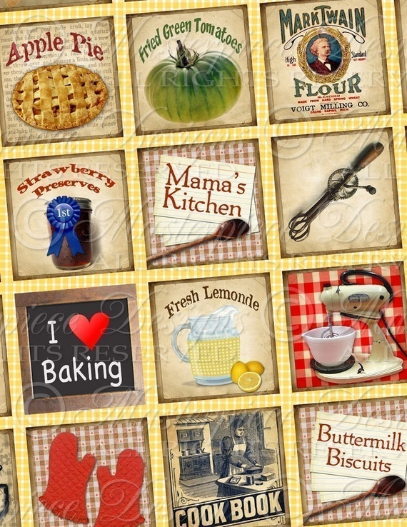 Retro Kitchen / Cook / Cooking - 1x1 Inch Square Tiles Digital JPG Collage Sheet
