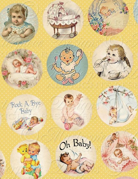 Rock-A-Bye Baby / Vintage Baby Designs / Bottlecap - 1 Inch Round Designs Digital JPG Collage Sheet