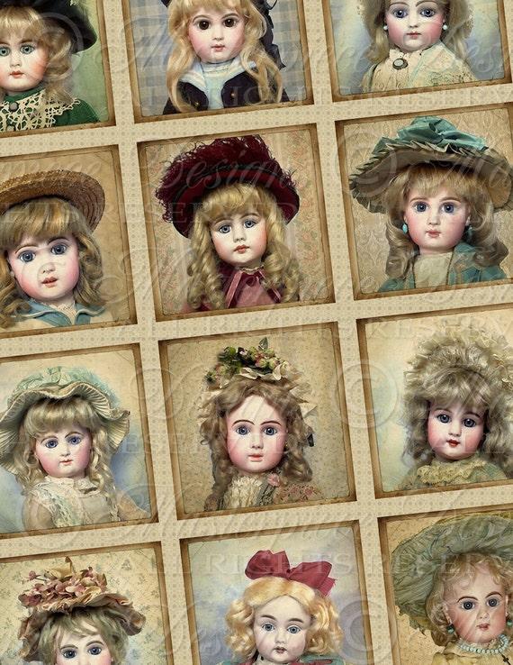 Victorian Dolls / Antique Porcelain Dolls - 2x2 Inch Square Tiles Digital JPG Collage Sheet