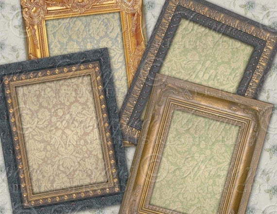 Antique Frames - 2.5x3.5 inch Designs, ATC, ACEO, Tags, Download and Print Digital Sheet