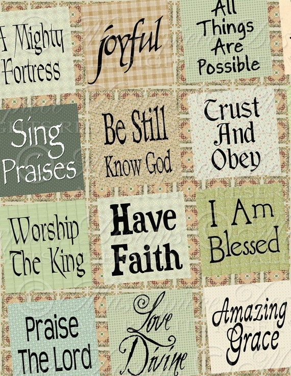 Expressions Of The Christian Faith / Christian Phrases - 1x1 Inch Square Tiles Digital JPG Collage Sheet