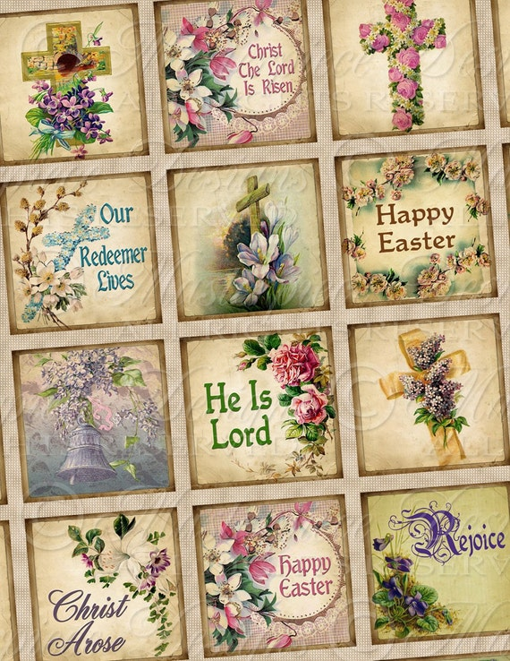 He Is Risen / Easter / Resurrection Of Christ - 1x1 Inch Square Tiles Digital JPG Collage Sheet