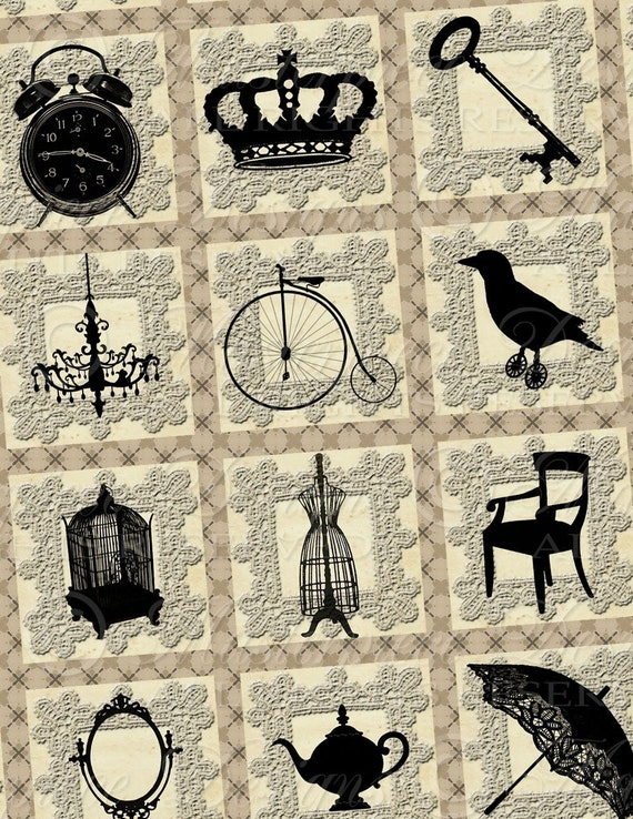 Silhouettes d'Objets - 1x1 Inch Square Tiles Digital JPG Collage Sheet