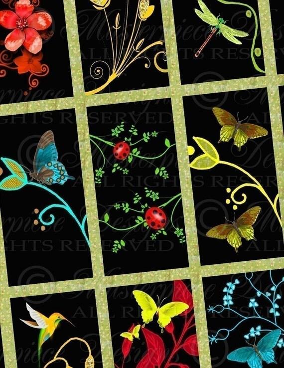 Secret Garden / Flowers / Vivid Colors - 1x2 Inch Rectangle Tiles Digital JPG Collage Sheet