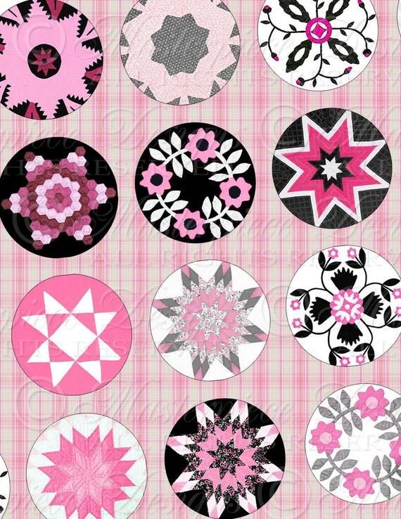 Quilt Designs / Antique Patterns / Pink & Black - 1 Inch Round Digital JPG Collage Sheet