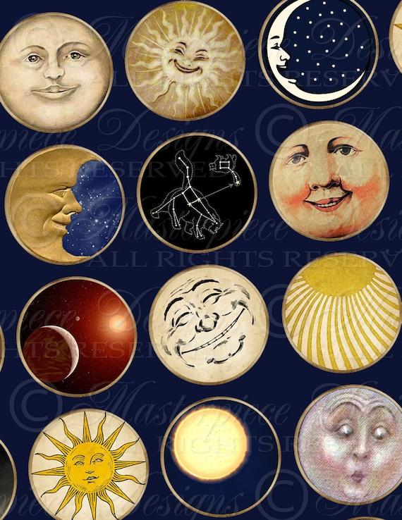 Sun, Moon & Stars - One Inch Round Designs Digital JPG Collage Sheet