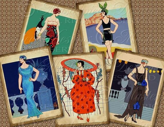 Thoroughly Modern Girls / Women / Ladies / Vintage - ATC, ACEO, Hang Tags, Download and Print Digital Sheet