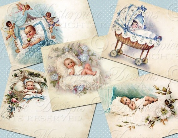 Baby Boys / Newborn / Baby Shower / Baby Gift - ATC, ACEO, Hang Tags, Download and Print Digital Sheet