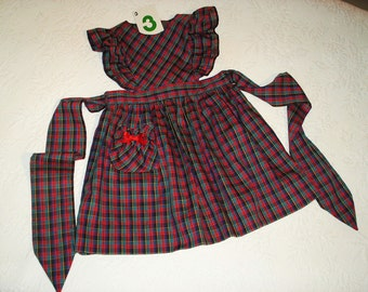 Size 3 Plaid Jumper Dress in Pinafore style with Red, Green, Blue and Black. Ready to ship.