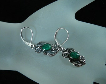 Earrings, 1in, Turquoise, Sterling, Antique   3026