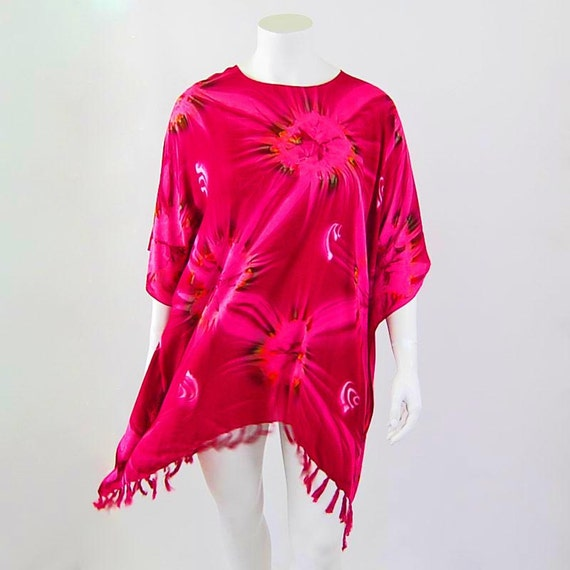 Magenta in Motion Tie-Dye Swing Top with Fringe and Flowing Kimono Sleeves