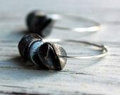 Black Orchid - Gunmetal Petal, Sterling Silver Handmade Hoop Earrings