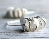 Petals - Silver Curved Discs on Sterling Hoops Handmand Earrings