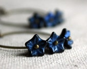 Midnight Garden - Handmade Czech Glass Flowers on Vintage Bronze Hoop Earrings