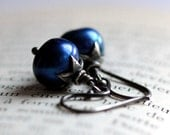 Midnight Blue Pearl Earrings with Sterling Silver - Nightfall