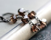 Dangle Earrings with Smoky Brown Quartz and Sterling Silver - Truffle