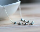 Pearl Necklace with Blue Freshwater Pearls and Sterling Silver Chain - Blue Christmas