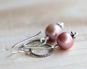 Pink Pearl Earrings with Sterling Silver Hoops - Blush Pastel Spring Fashion