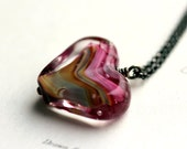 Heart Pendant Necklace, Lampwork Glass Heart and Sterling Silver Necklace - Sweetheart