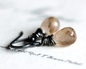 Golden Rutilated Quartz Earrings Wire Wrapped in Oxidized Sterling Silver - Alchemy