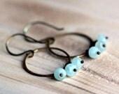 Aquamarine Hoop Earrings with Oxidized Brass Hoops - Summer Fashion March Birthstone Rustic Beach Tones