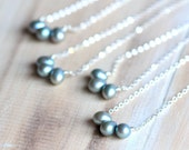 Bridesmaid Necklace Gift Set, Pearl Necklace Sterling Silver Chain Summer Wedding Party Something Blue