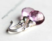 Pink Gemstone Earrings, Wire Wrapped Mystic Pink Quartz with Sterling Silver - Petal Pink Pastel
