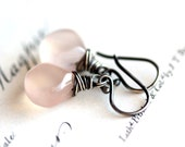 Pink Earrings, Rose Smoke Quartz Gemstone in Sterling Silver - Rose Hip - Spring Fashion Pastel Gift Under 30