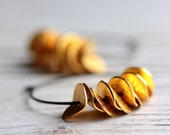 Large Hoop Ruffle Earrings in Oxidized Sterling Silver and Gold Ruffles - Gilded - Minimalist Modern Under 30 Fall Fashion - JarosDesigns
